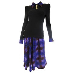 1970s Adolfo Black and Purple Knit and Silk Ensemble