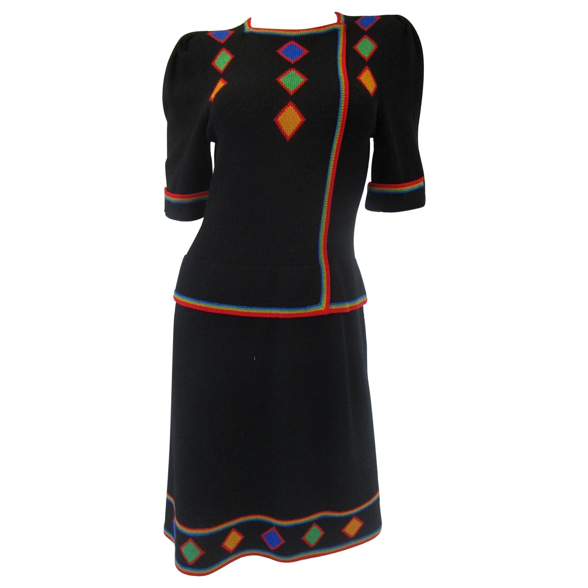 1970s Adolfo Black Knit Dress With Rainbow Details
