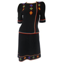 1970s Adolfo Black Knit Dress With Rainbow Details