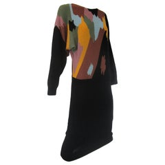 1970s Adolfo Black with Abstract Earth Tones Knit Midi Sweater Dress