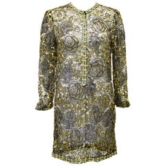 1970s Adolfo Gold Lace Beaded Evening Tunic