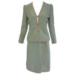 1970s Adolfo Mint Green Wool Knit Skirt and Jacket