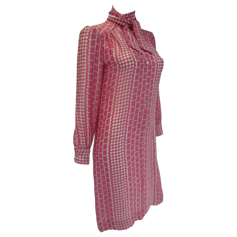 1970s Adolfo Pink and Cream Silk Spring Shift Dress