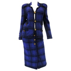 1970s Adolfo Purple and Black Wool Knit Plaid Skirt Suit