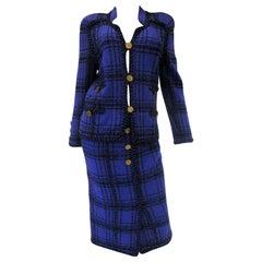 1970s Adolfo Purple and Black Wool Knit Plaid Skirt Suit