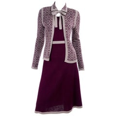 1970s Adolfo Suit 2 pc Skirt & Tank Dress W Bow Cardigan Jacket in Burgundy Knit