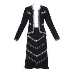1970s Adolfo Vintage Black  White Wool Knit Sweater Jacket + Skirt Suit Ensemble