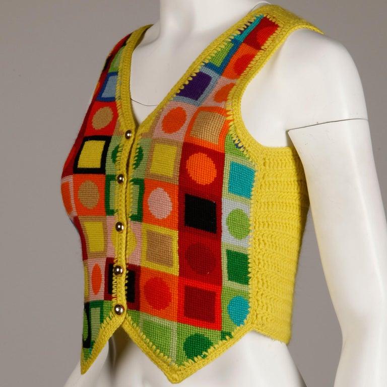 Brown 1970s Adolfo Vintage Knit Sweater Vest For Sale