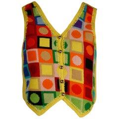 1970s Adolfo Vintage Knit Sweater Vest