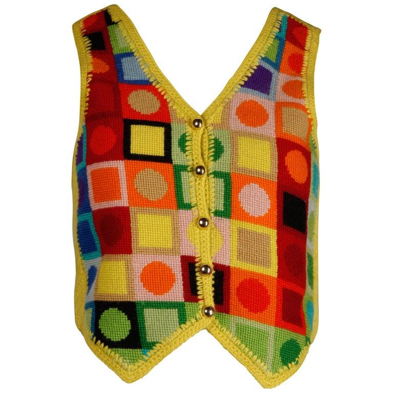 1970s Adolfo Vintage Knit Sweater Vest For Sale