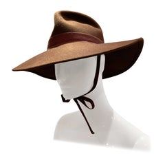 1970s Adolfo Wide Brim Menswear-Style Chocolate Brown Wool Felt Fedora W/ Strap