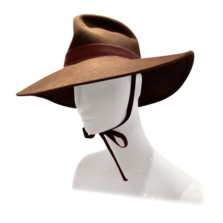 1970s Adolfo Wide Brim Menswear-Style Chocolate Brown Wool Felt Fedora W/ Strap For Sale