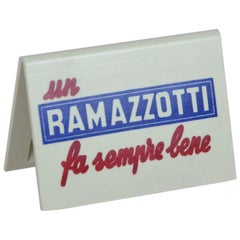 1970s Advertising Vintage Italian Ramazzotti Plastic Place Card Holder