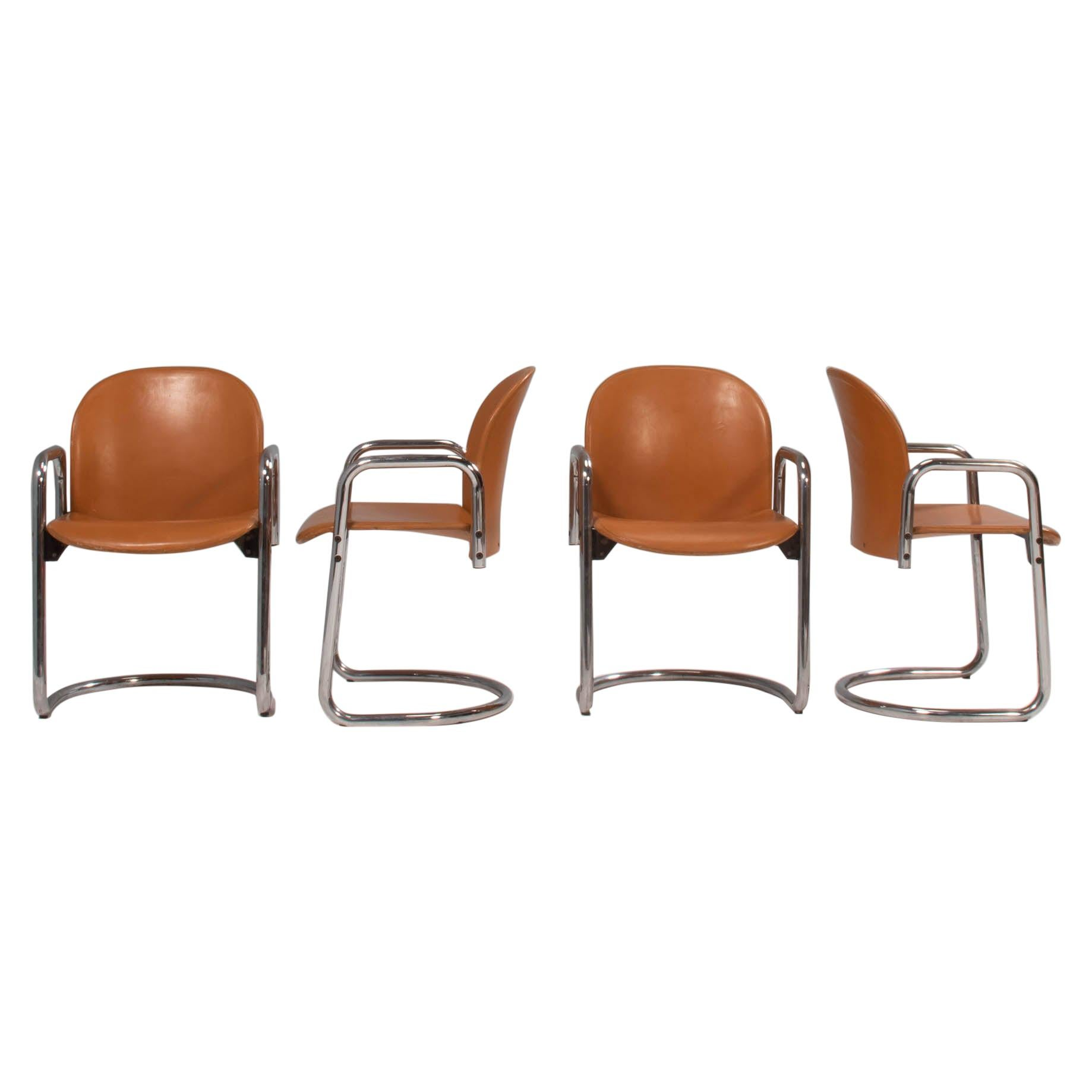 1970's Afra & Tobia Scarpa for B&B Italia Dialogo Dining Chairs, Set of 4