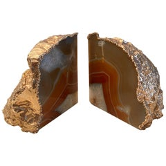 1970s Agate and Gold-Plated Bookends