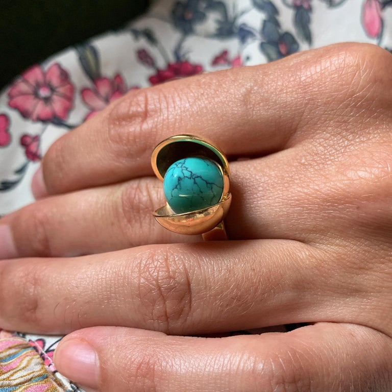 Modernist 1970s Age Fausing Denmark Turquoise and Gold Tulip Ring
