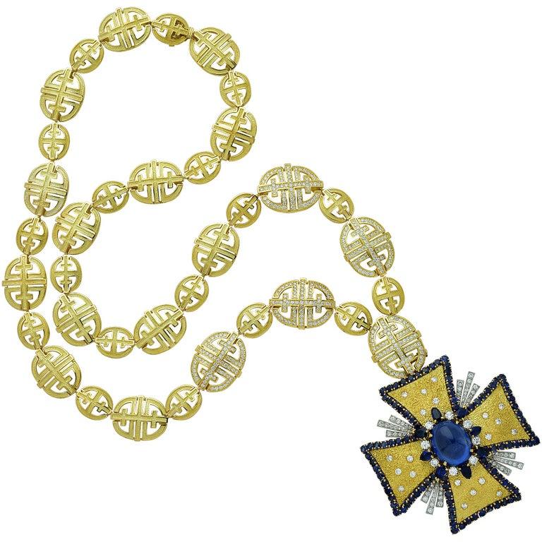 Modern 1970s AGL Certified Sapphire Diamond Maltese Cross Necklace For Sale