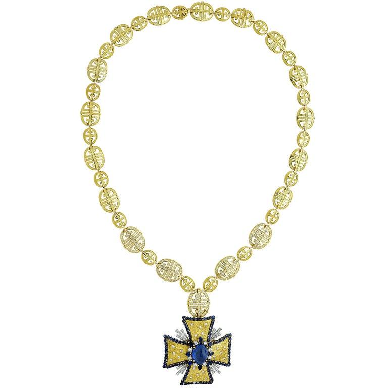 1970s AGL Certified Sapphire Diamond Maltese Cross Necklace For Sale 1