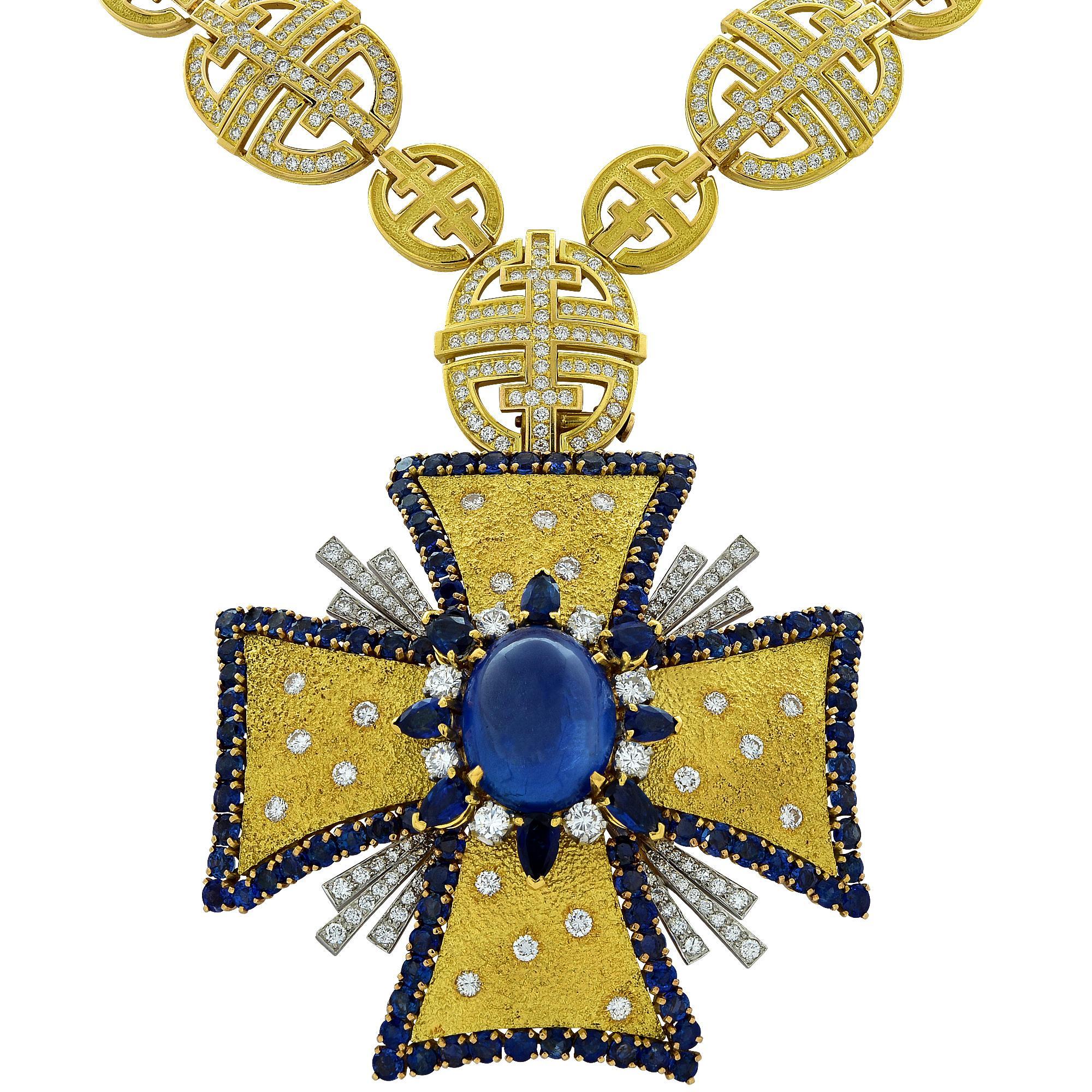 1970s AGL Certified Sapphire Diamond Maltese Cross Necklace