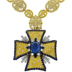 1970s AGL Certified Sapphire Diamond Maltese Cross Necklace