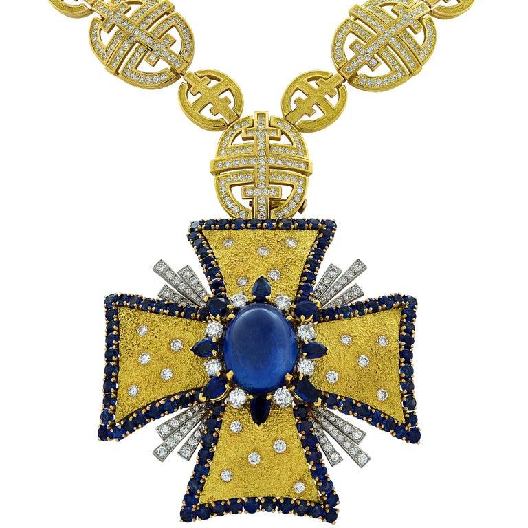 1970s AGL Certified Sapphire Diamond Maltese Cross Necklace For Sale