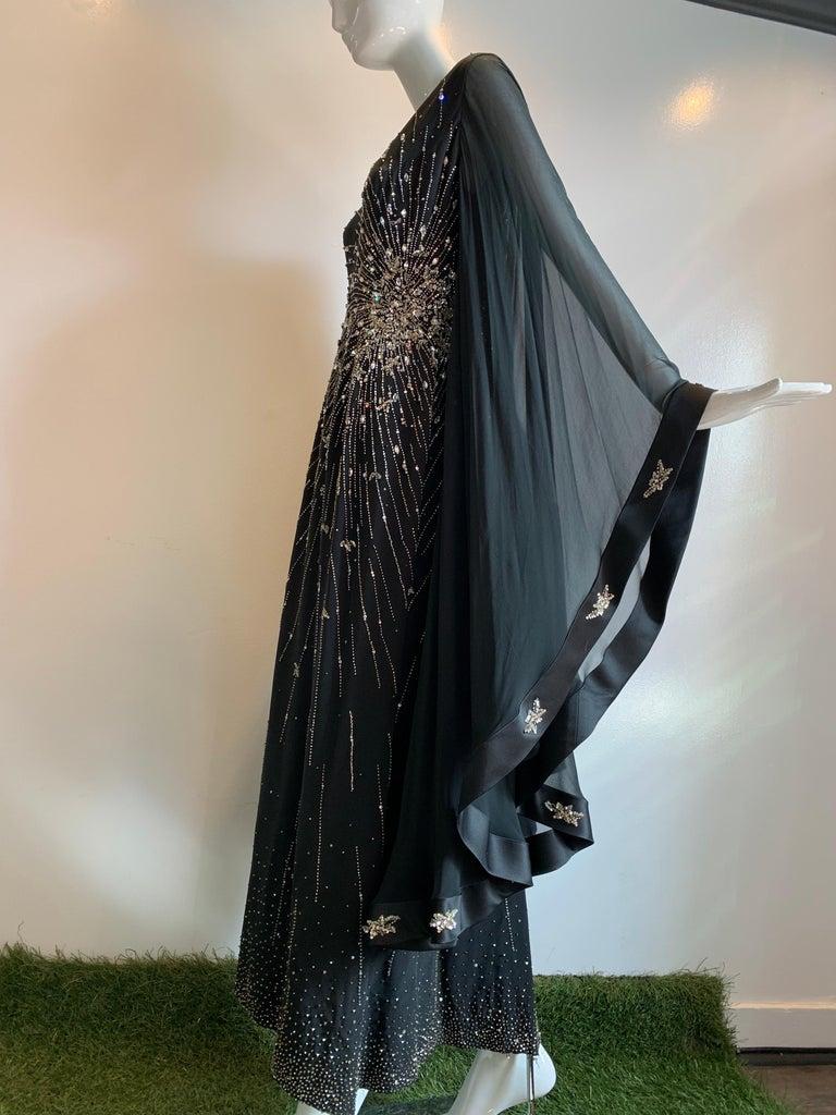1970s Alan Cherry Black Silk Chiffon Evening Gown W/ Starburst Motif Beading For Sale 6