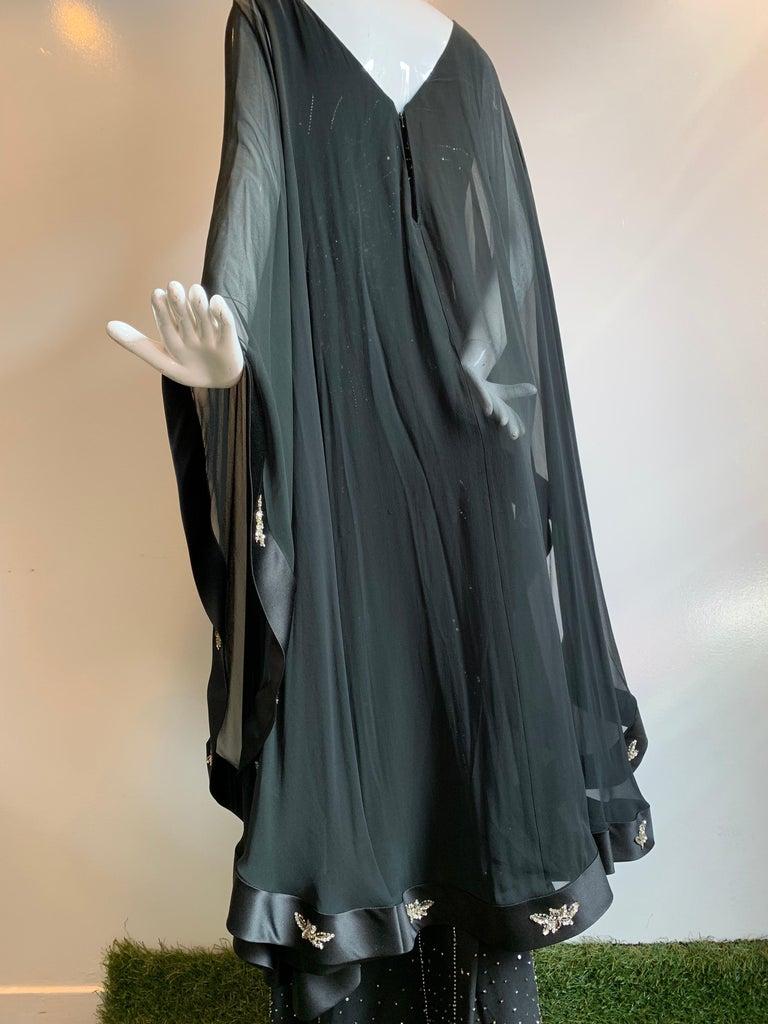 1970s Alan Cherry Black Silk Chiffon Evening Gown W/ Starburst Motif Beading For Sale 7