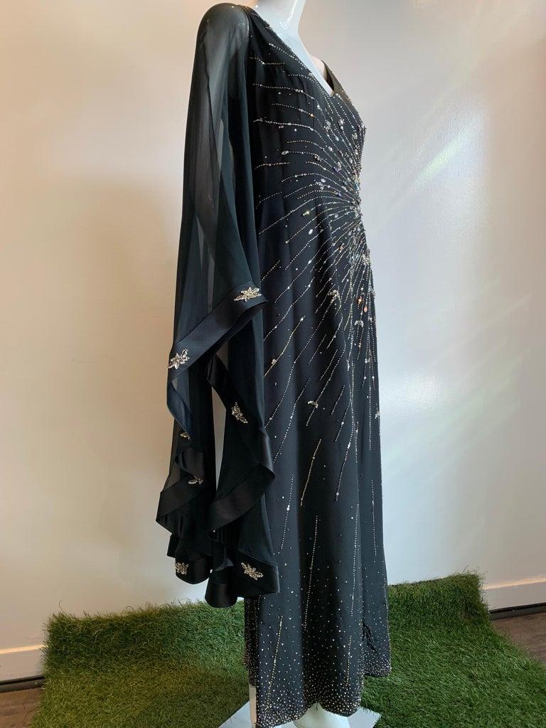 1970s Alan Cherry Black Silk Chiffon Evening Gown W/ Starburst Motif Beading For Sale 9