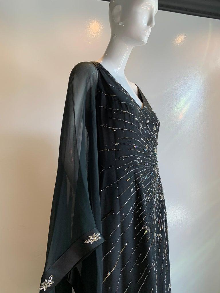 1970s Alan Cherry Black Silk Chiffon Evening Gown W/ Starburst Motif Beading For Sale 10