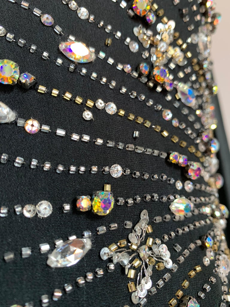 1970s Alan Cherry Black Silk Chiffon Evening Gown W/ Starburst Motif Beading For Sale 13