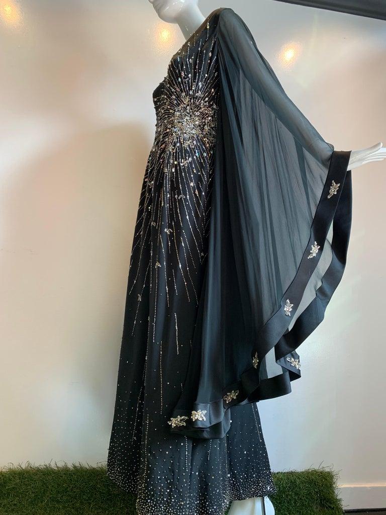 1970s Alan Cherry Black Silk Chiffon Evening Gown W/ Starburst Motif Beading For Sale 14