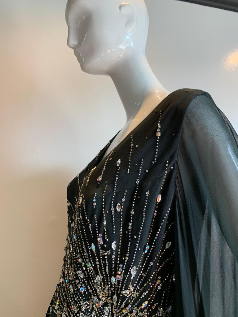 1970s Alan Cherry Black Silk Chiffon Evening Gown W/ Starburst Motif Beading For Sale 15