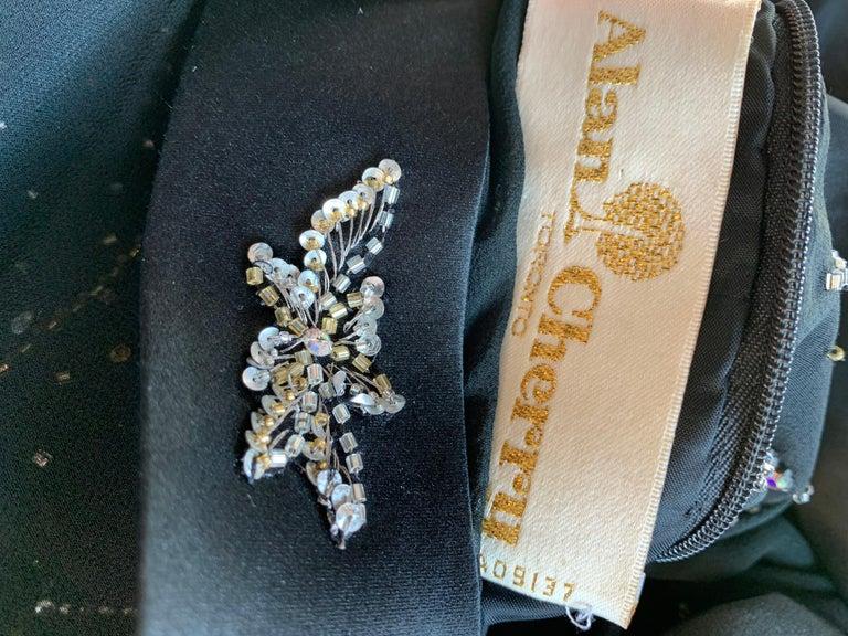 1970s Alan Cherry Black Silk Chiffon Evening Gown W/ Starburst Motif Beading For Sale 16