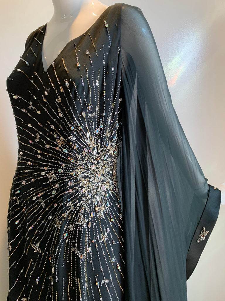 1970s Alan Cherry Black Silk Chiffon Evening Gown W/ Starburst Motif Beading In Excellent Condition For Sale In San Francisco, CA