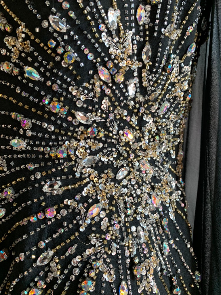 Women's 1970s Alan Cherry Black Silk Chiffon Evening Gown W/ Starburst Motif Beading For Sale