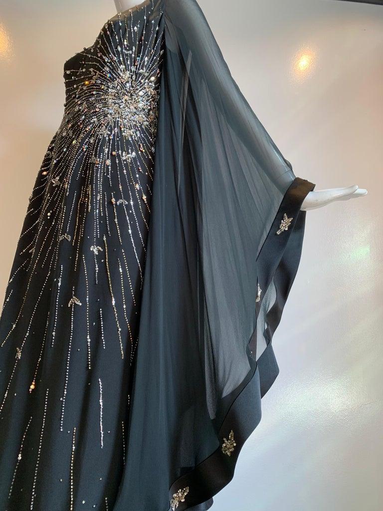 1970s Alan Cherry Black Silk Chiffon Evening Gown W/ Starburst Motif Beading For Sale 1