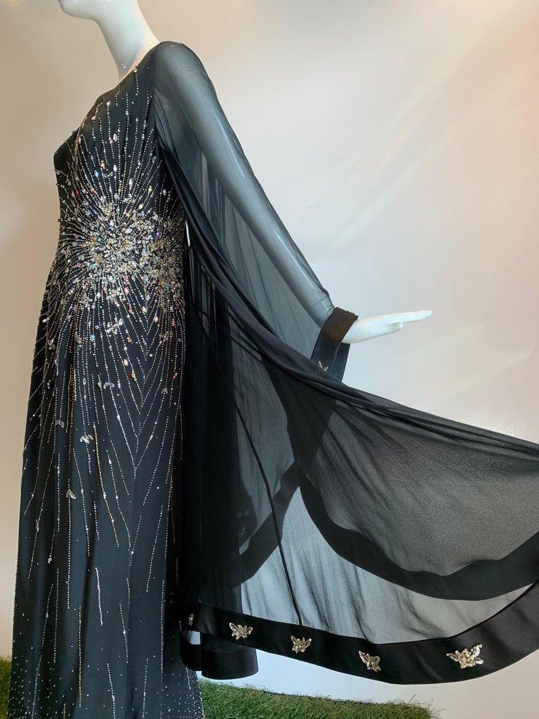 1970s Alan Cherry Black Silk Chiffon Evening Gown W/ Starburst Motif Beading For Sale 2