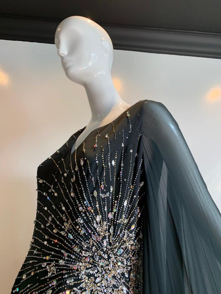 1970s Alan Cherry Black Silk Chiffon Evening Gown W/ Starburst Motif Beading For Sale 3