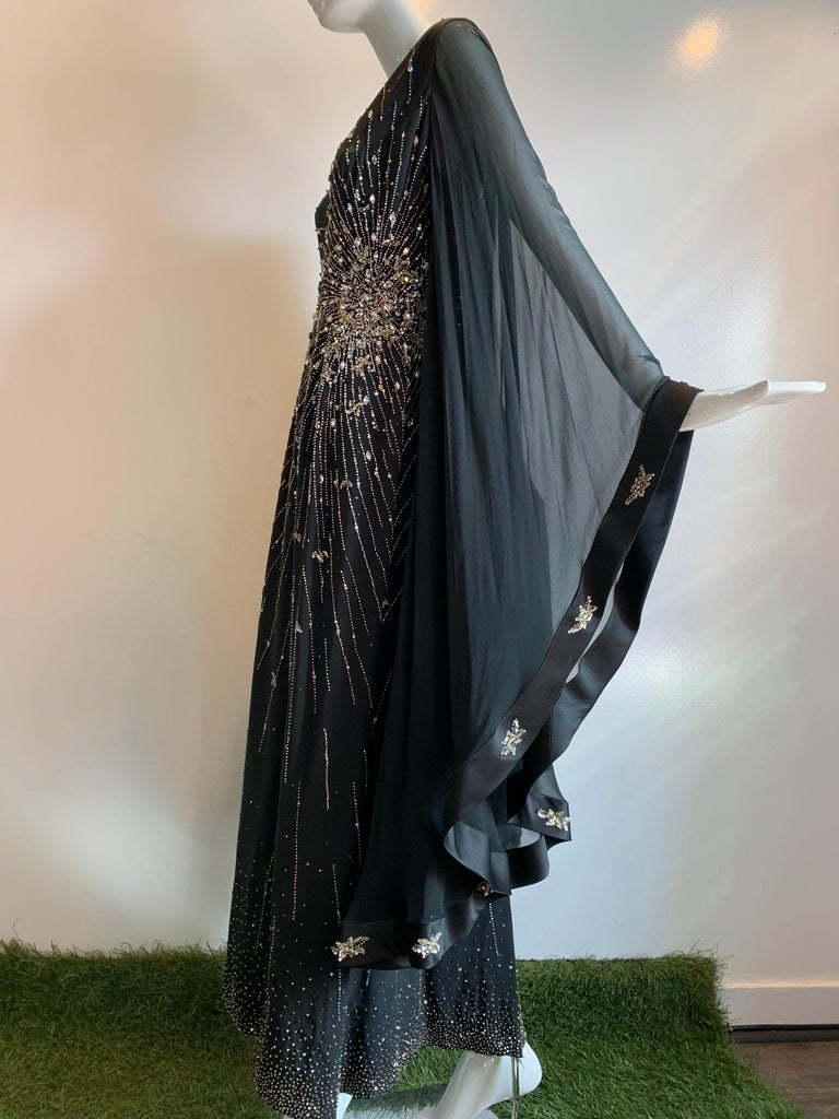1970s Alan Cherry Black Silk Chiffon Evening Gown W/ Starburst Motif Beading For Sale 4