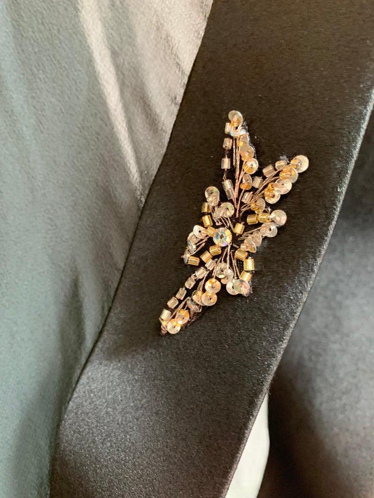 1970s Alan Cherry Black Silk Chiffon Evening Gown W/ Starburst Motif Beading For Sale 5