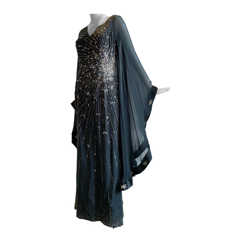 1970s Alan Cherry Black Silk Chiffon Evening Gown W/ Starburst Motif Beading For Sale