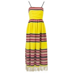 1970s Albert Capraro Yellow Mexican Blanket Maxi Dress