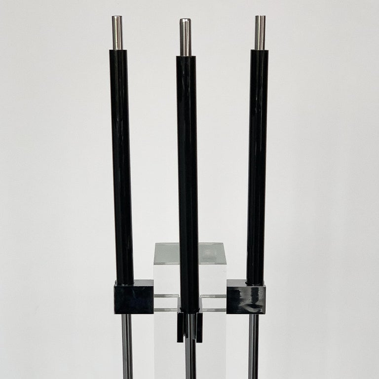 Plated 1970s Albrizzi Lucite and Chrome Fireplace Tools For Sale