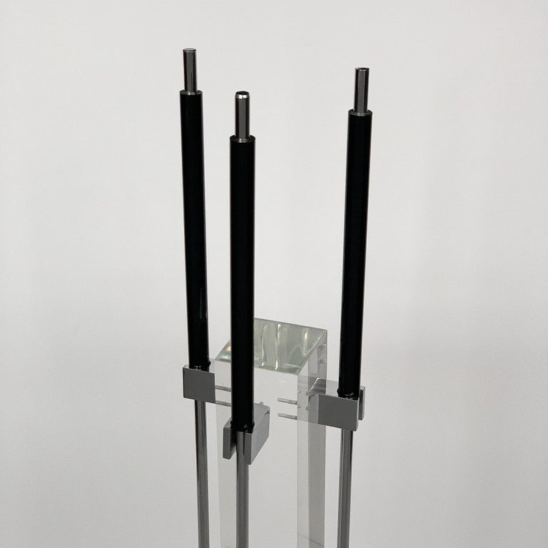1970s Albrizzi Lucite and Chrome Fireplace Tools In Excellent Condition For Sale In Chicago, IL