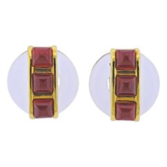 1970s Aldo Cipullo Carnelian Crystal Gold Earrings