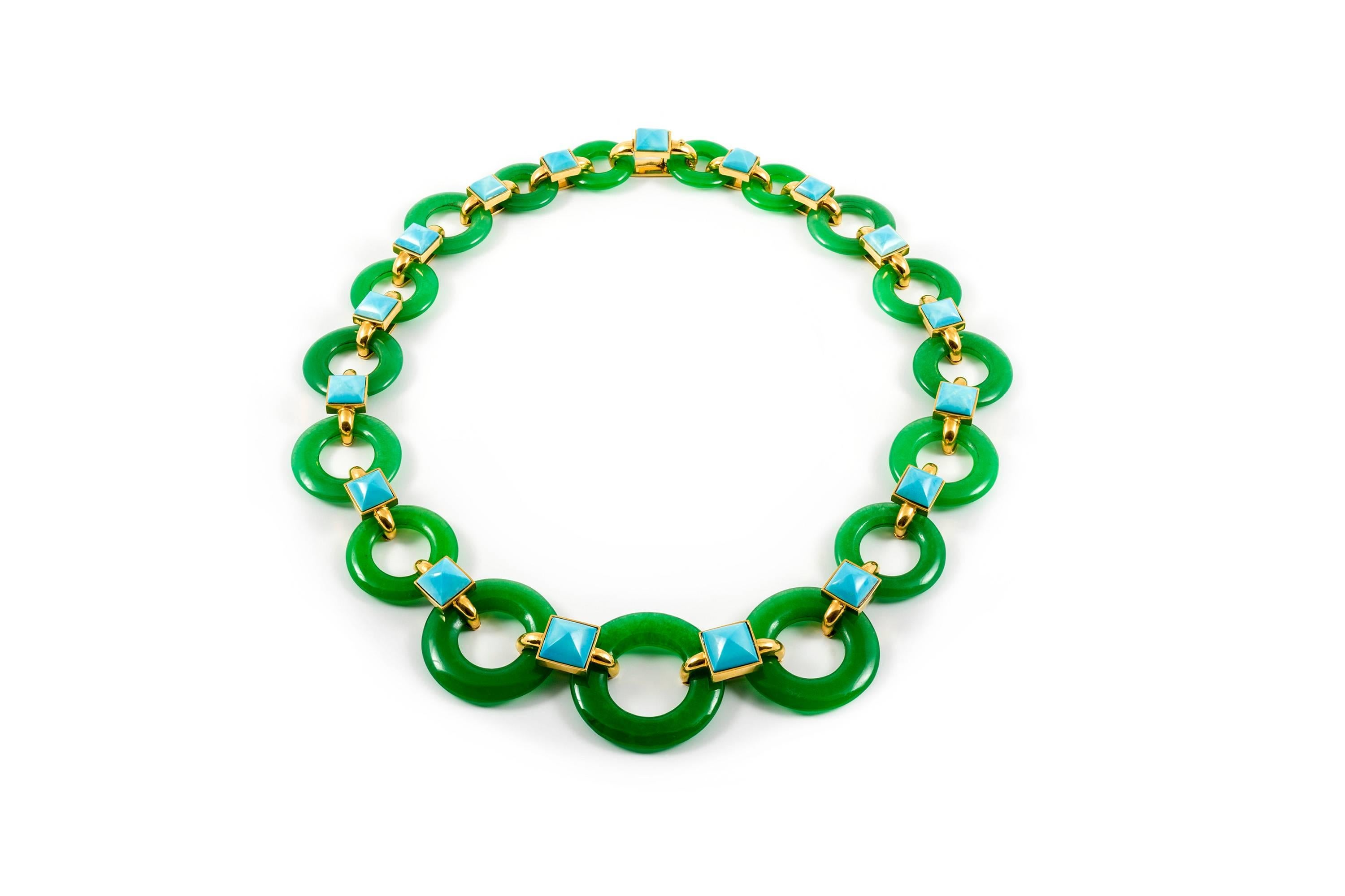A green chalcedony and turquoise necklace designed by Aldo Cipullo in 1970 and offered by Eric Originals and Antiques Ltd.