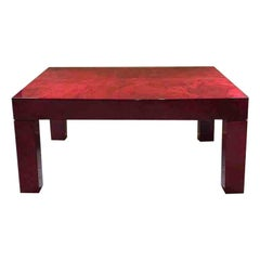 1970s Aldo Tura Red Parchment Coffee Cocktail Table