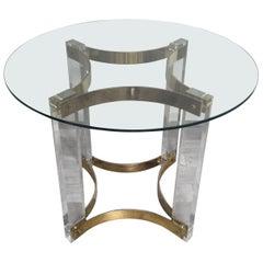 1970s Alessandro Albrizzi Italian Design Round Glass Brass Plexi Pedestal Table