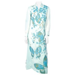 1970s Alfred Shaheen Aqua Hawaiian Painted Dress