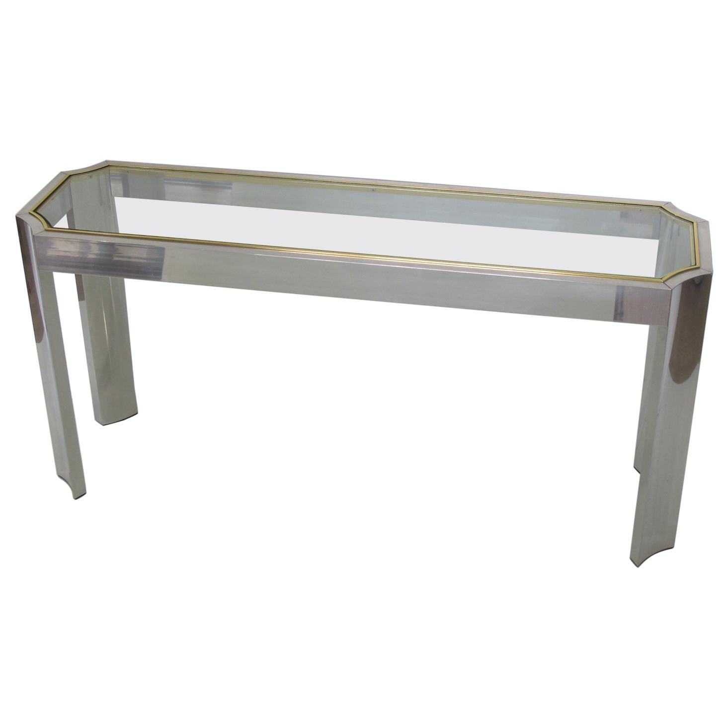 1970s Aluminum and Brass Console Sofa Table with Glass Top